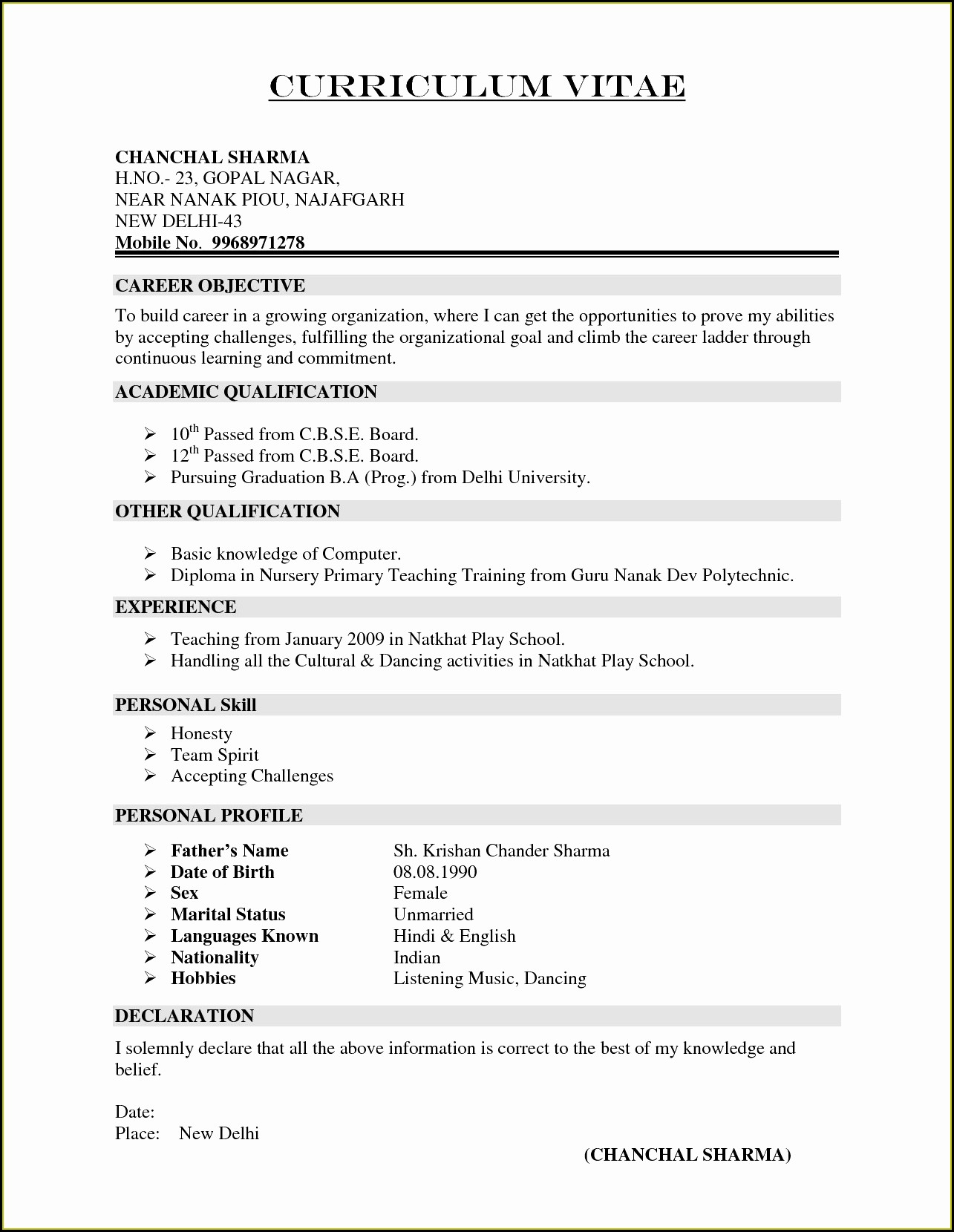 Resume For Experienced Registered Nurse