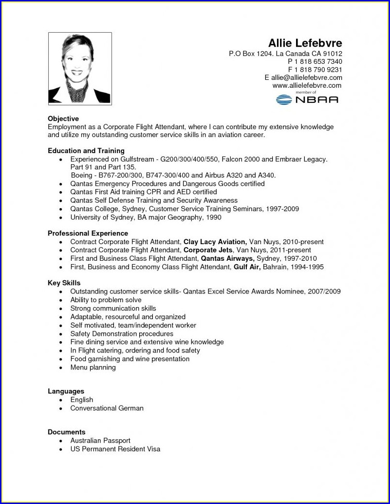 Resume For Flight Attendant Job With No Experience
