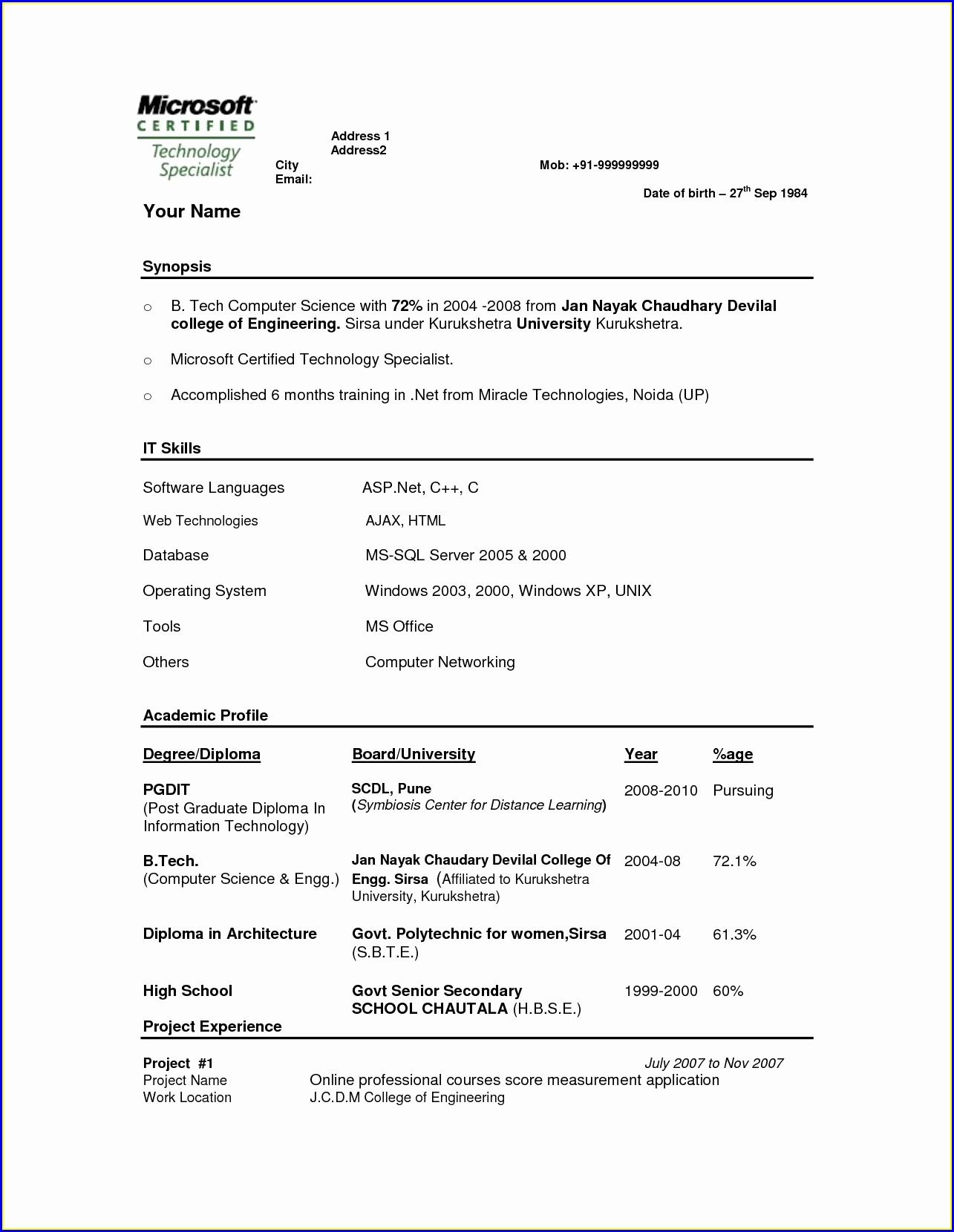 Resume For Fresh Engineers