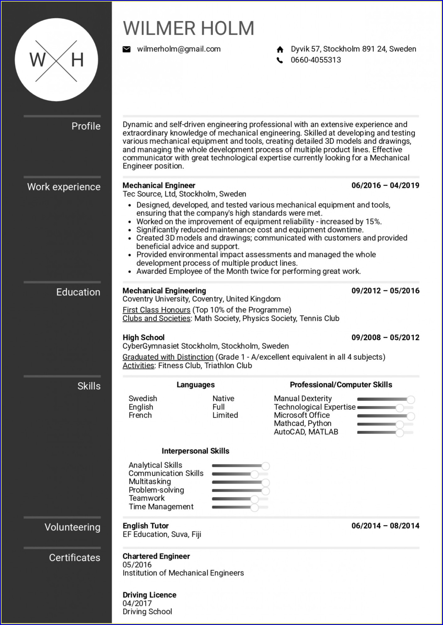 Resume For Fresher Engineer Pdf