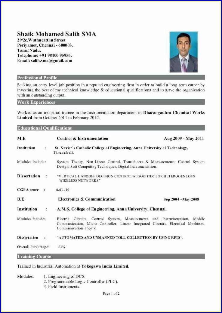 Resume For Fresher Mechanical Engineer Doc