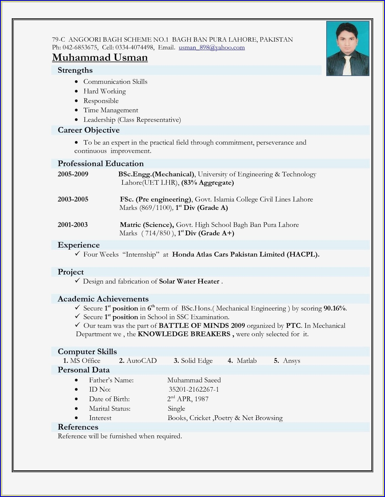 Resume For Fresher Mechanical Engineering Student