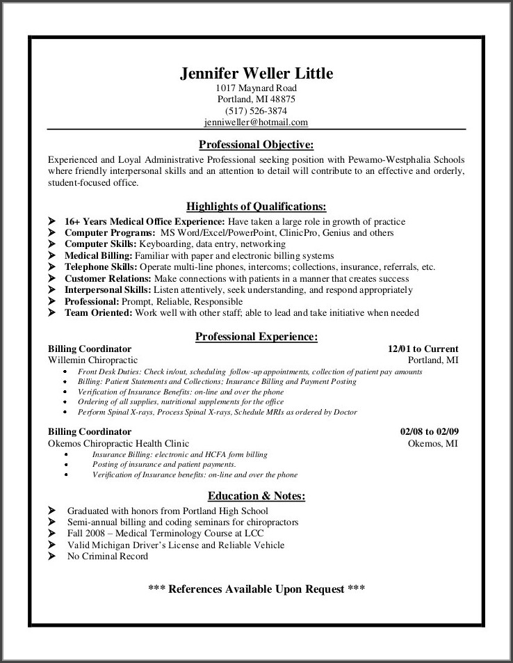 Resume For Medical Biller And Coder