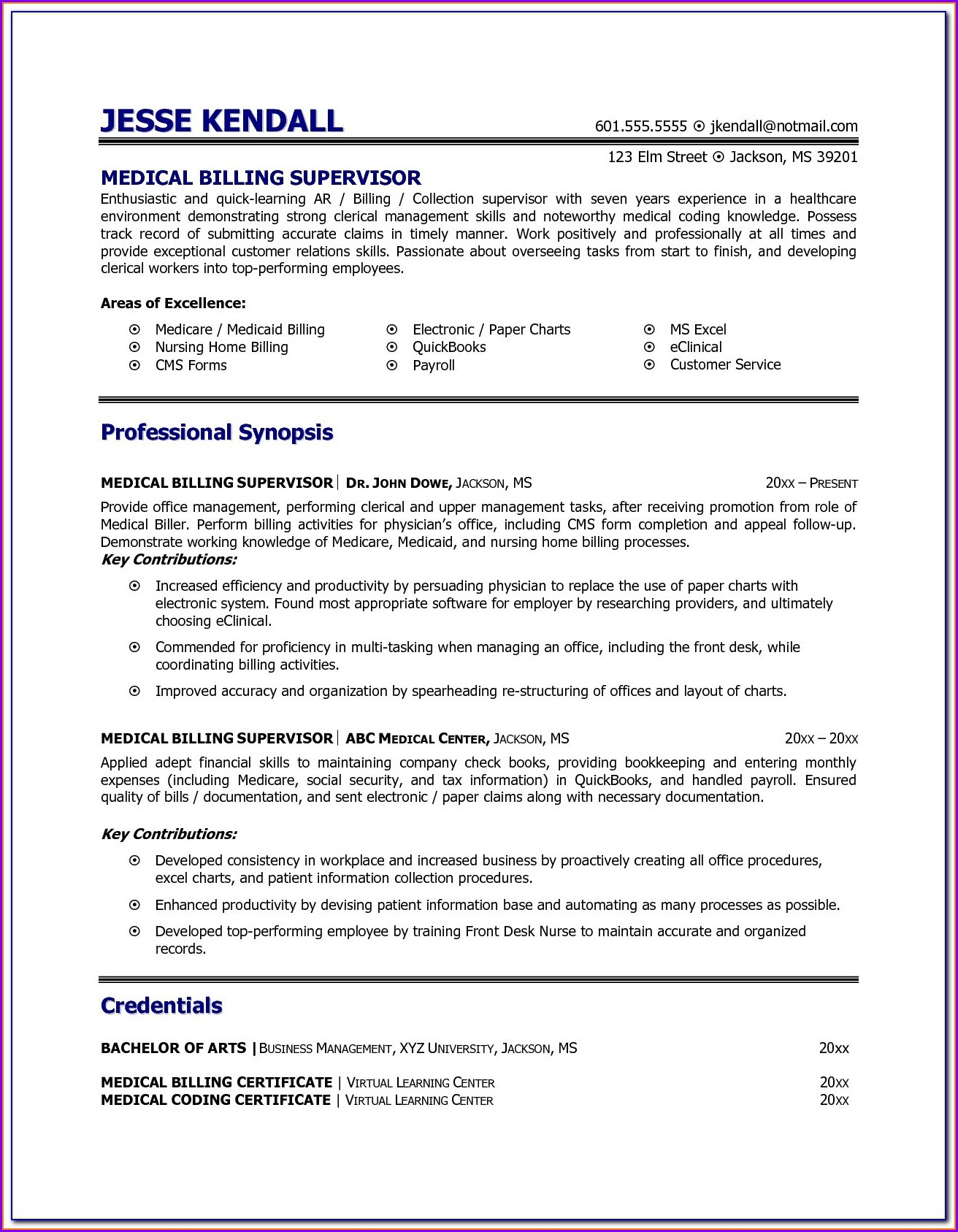 Resume For Medical Billing