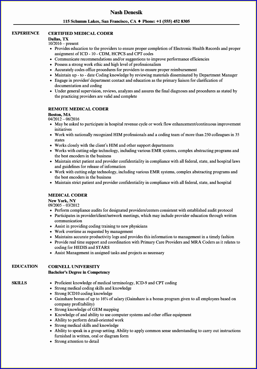 Resume For Medical Coding