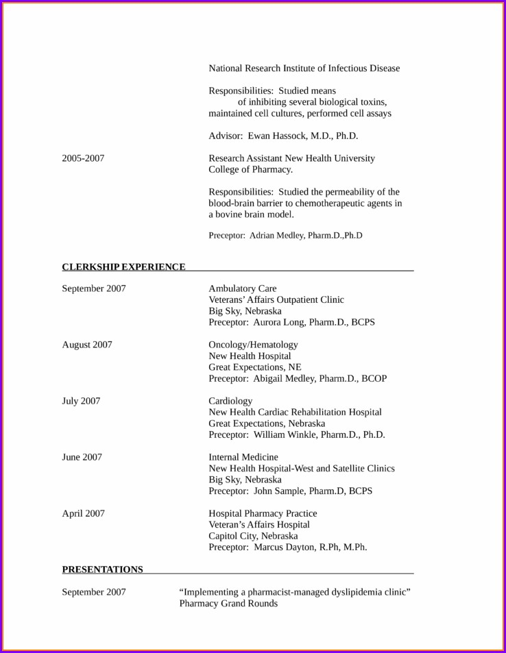 Resume For Newly Registered Nurses