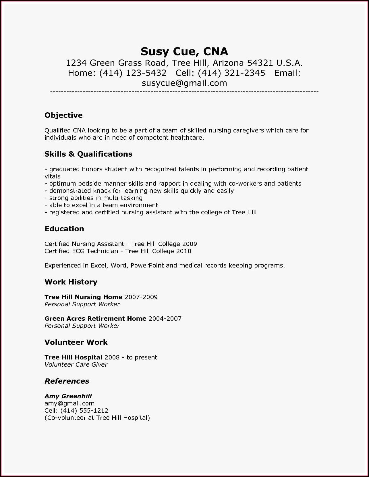 Resume For Nursing Assistants Job