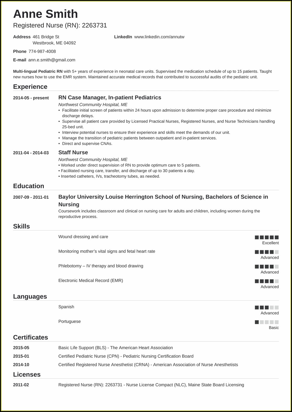 Resume For Registered Nurse