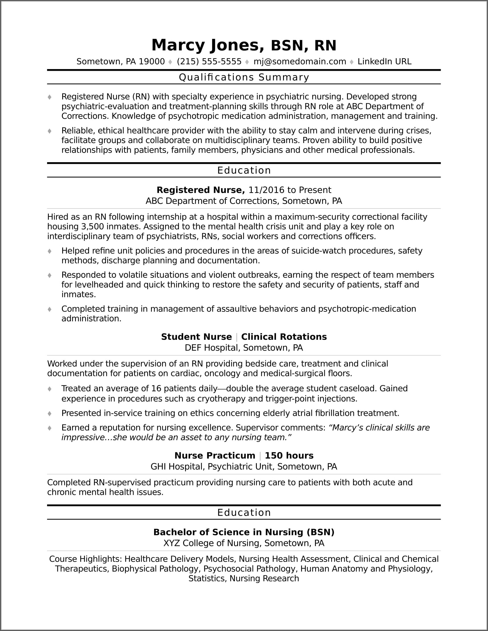 Resume For Rn Sample