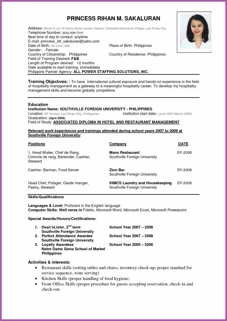 Resume Format Download Free For Fresher