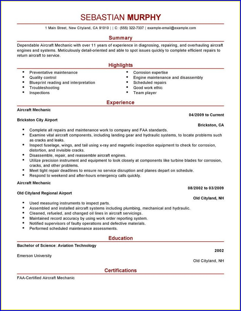 Resume Format For Aviation Jobs