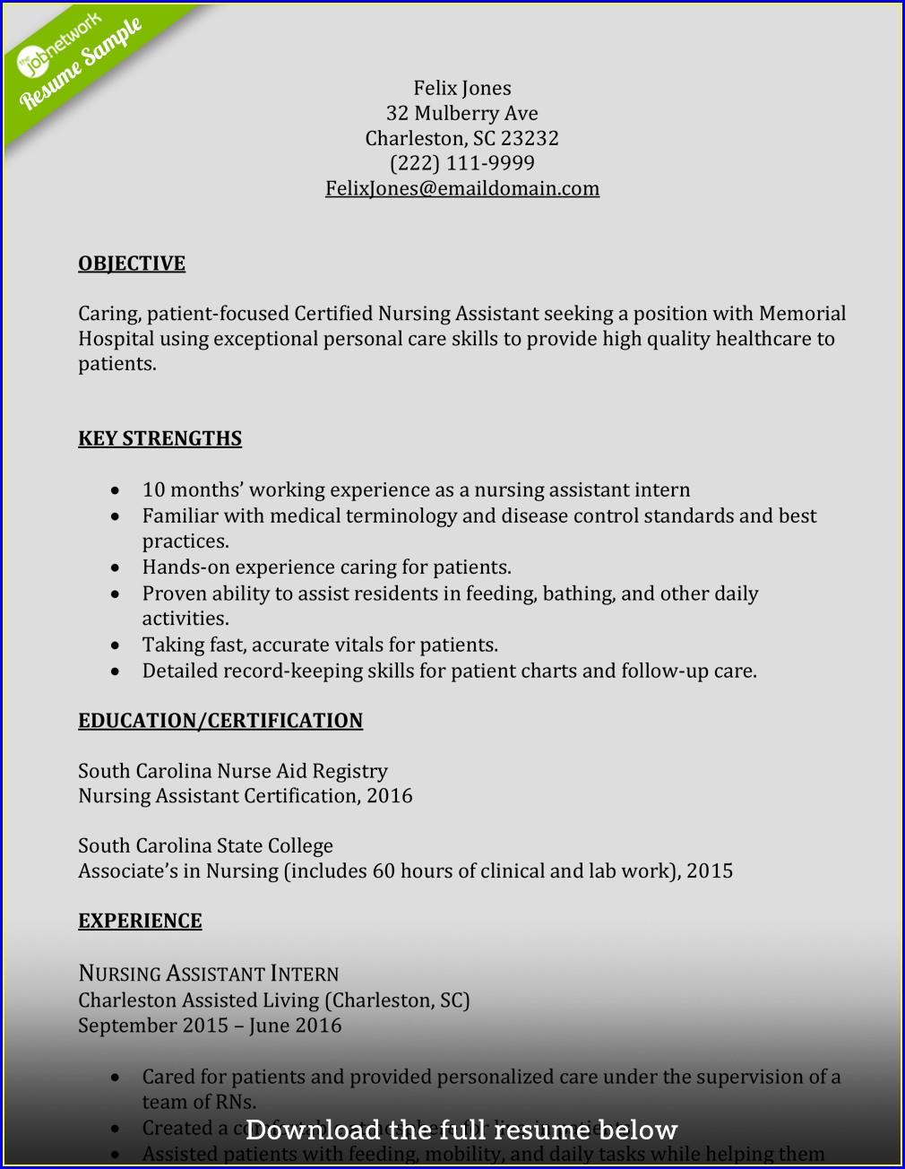 Resume Format For Cna Job