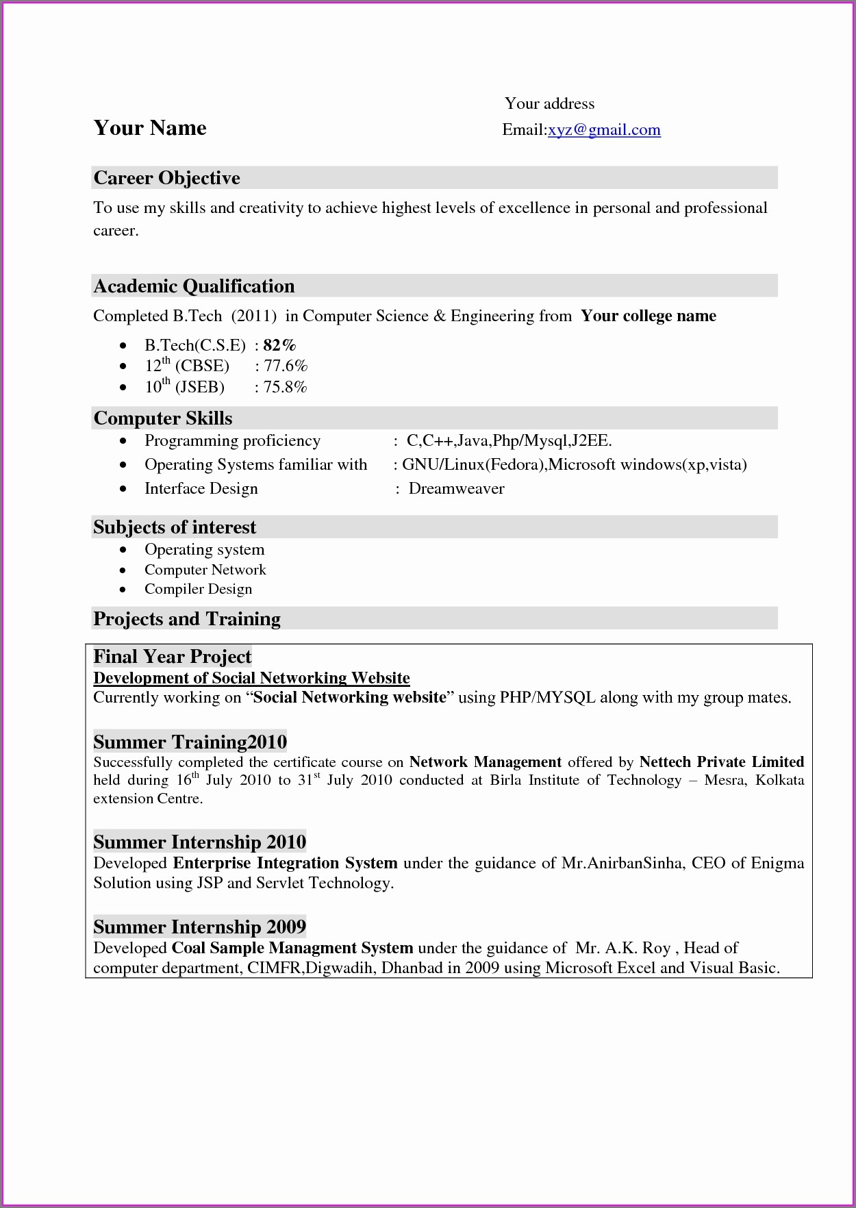 Resume Format For Engineering Students Free Download
