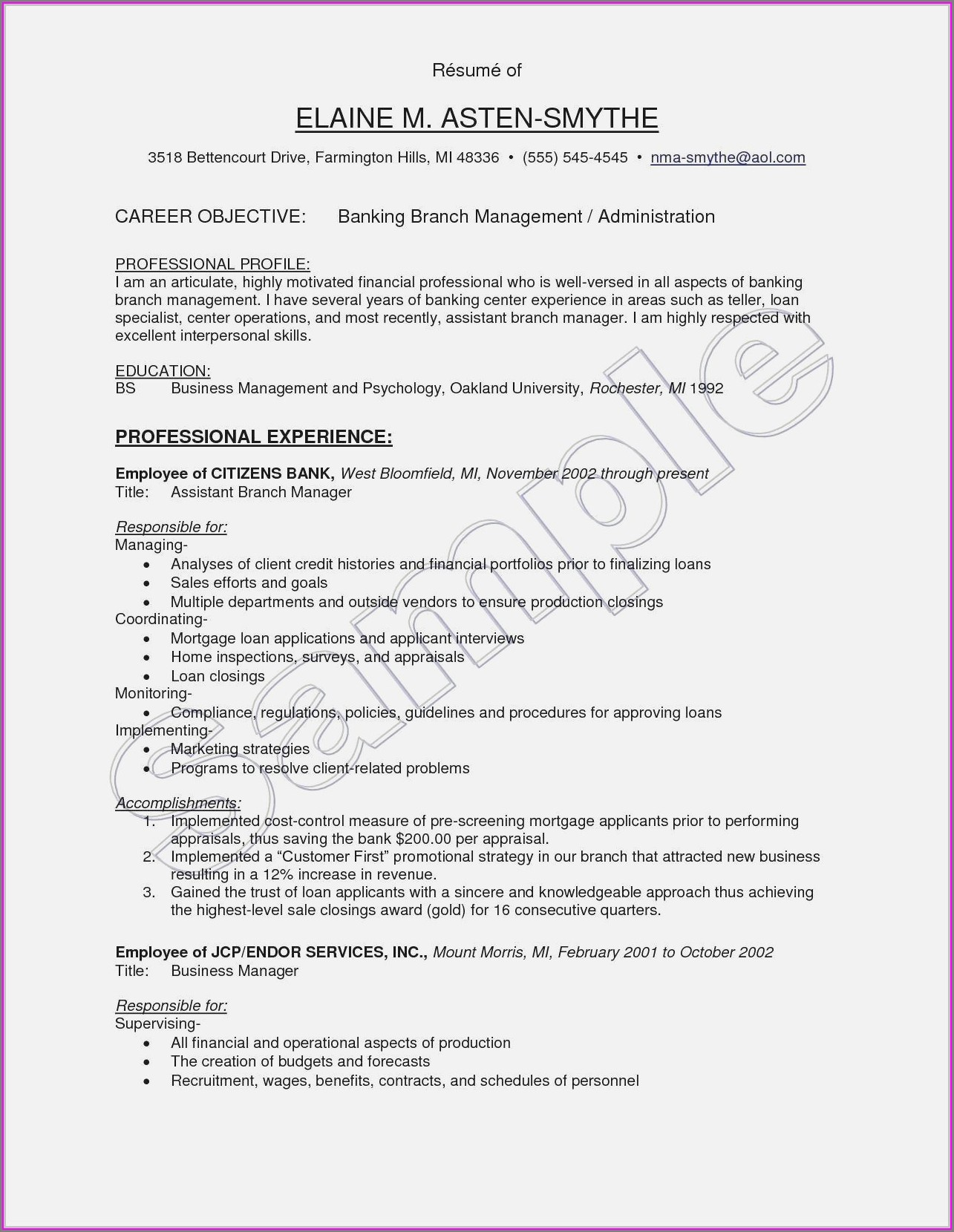 Resume Format For Executives