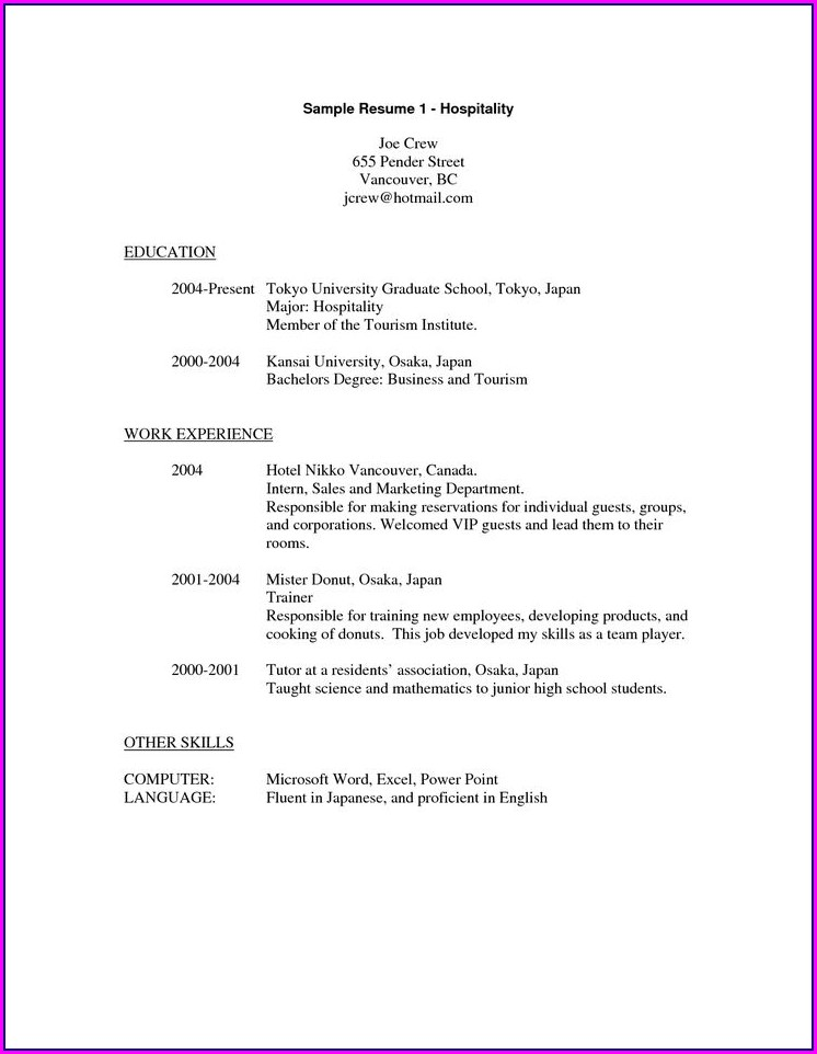 Resume Format For Experienced Hotelier