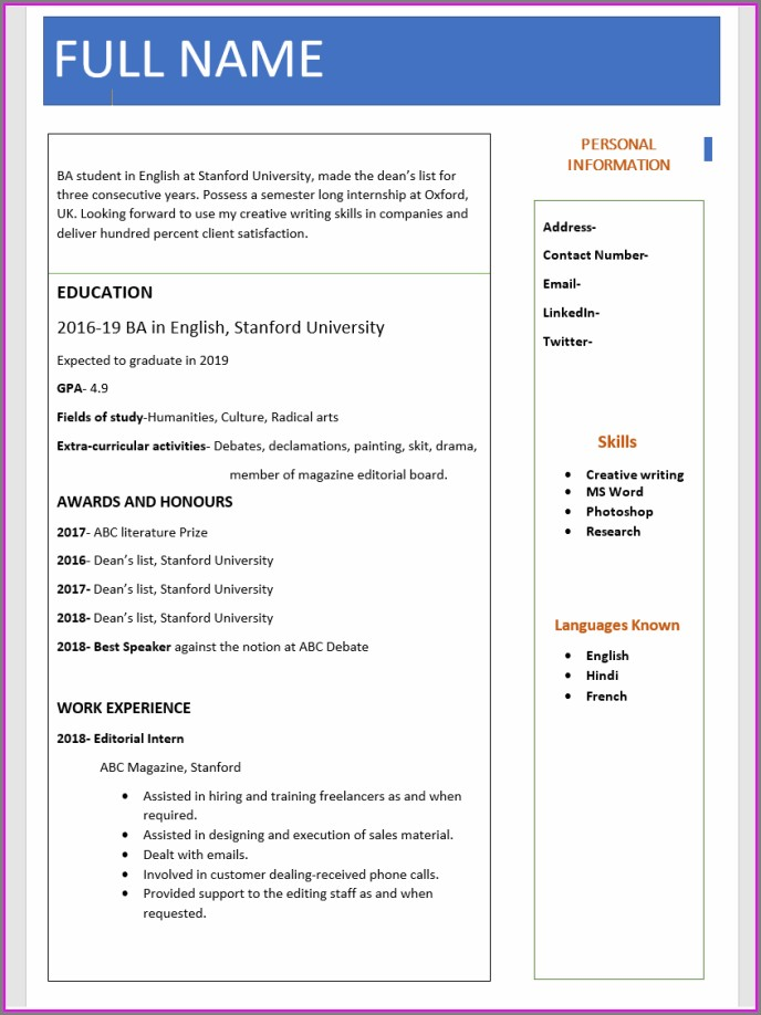 Resume Format For Freshers Bcom Free Download Pdf