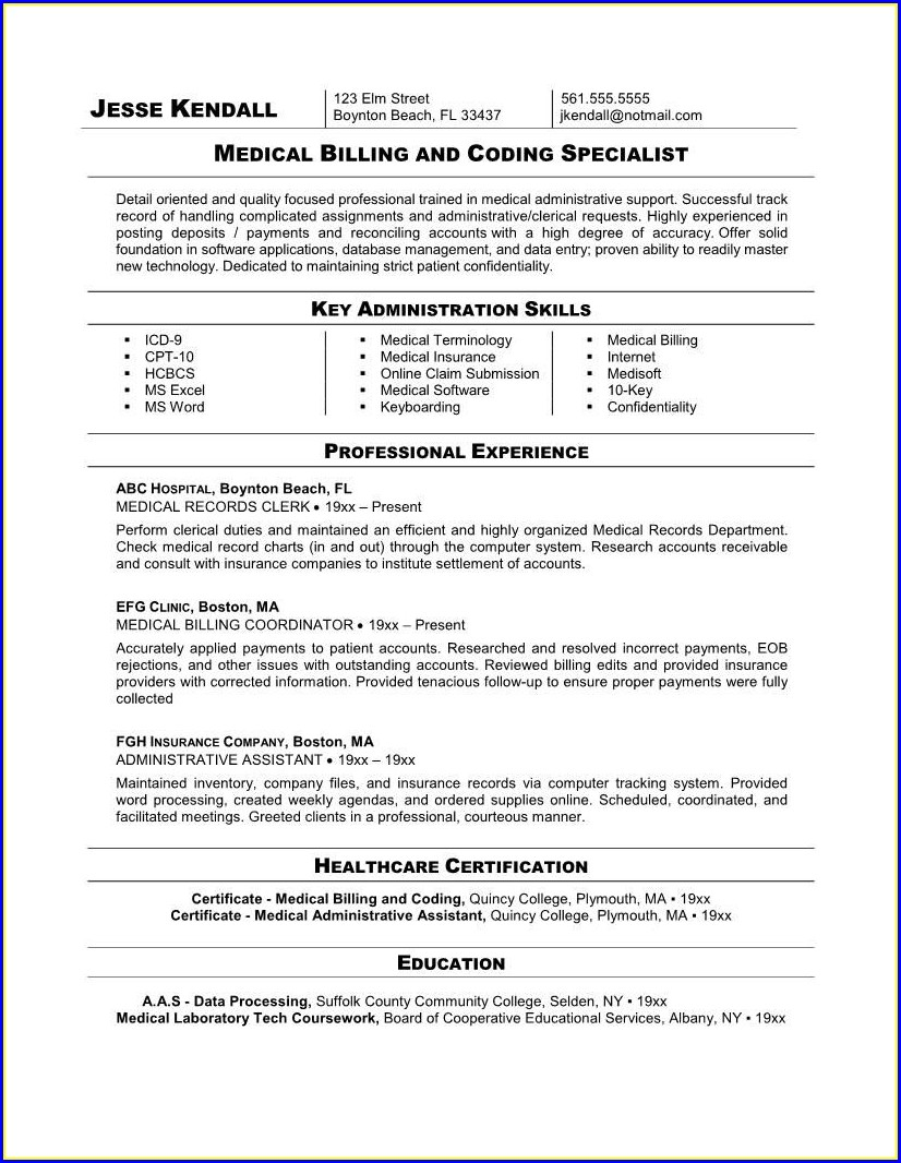 Resume Format For Medical Coding Job