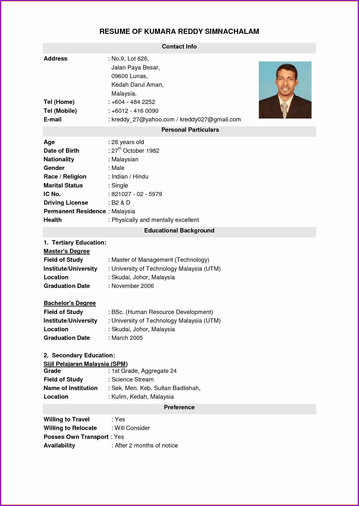 Resume Format For Nurses Download