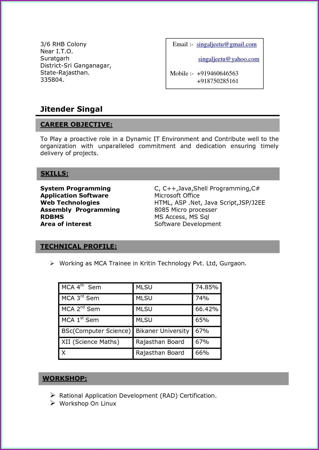 Resume Format For Nurses Freshers Pdf