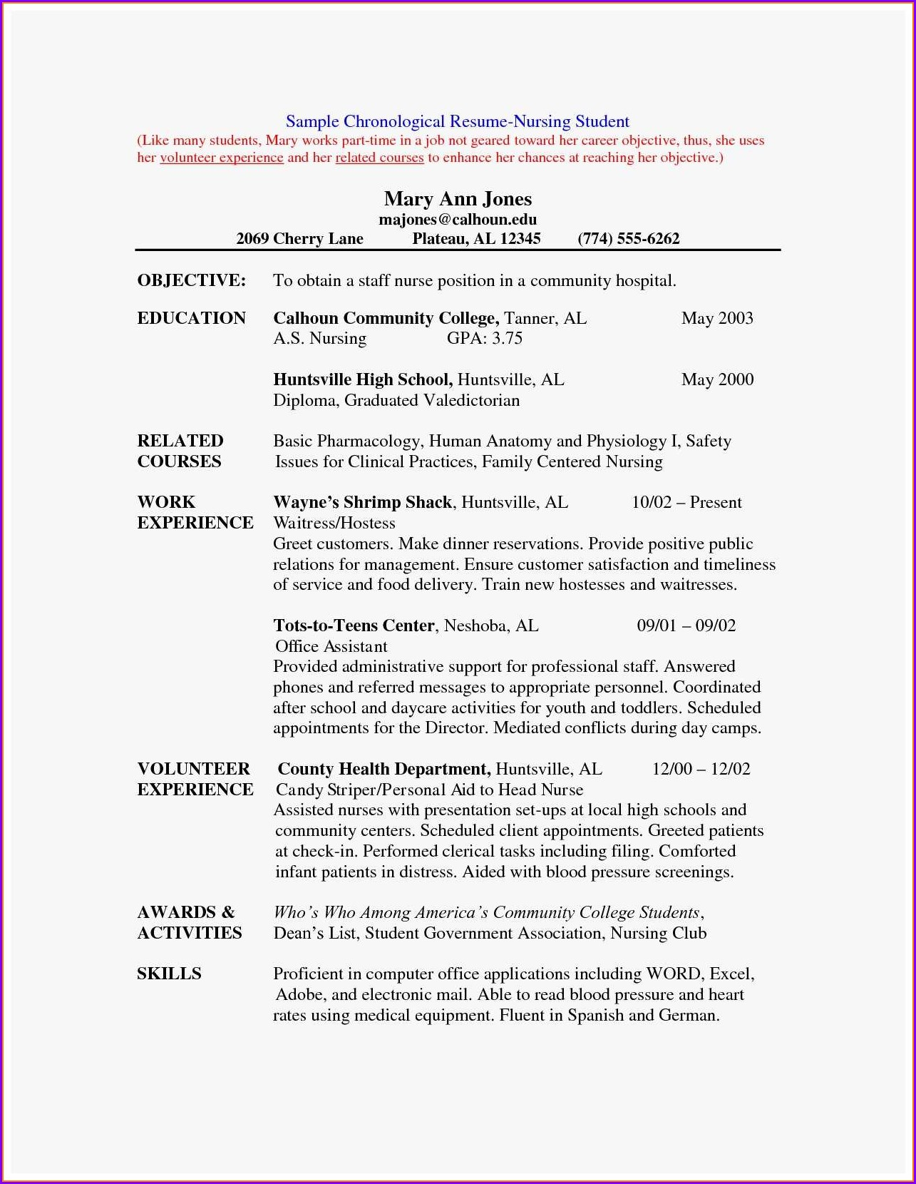 Resume Format For Nursing Job Pdf
