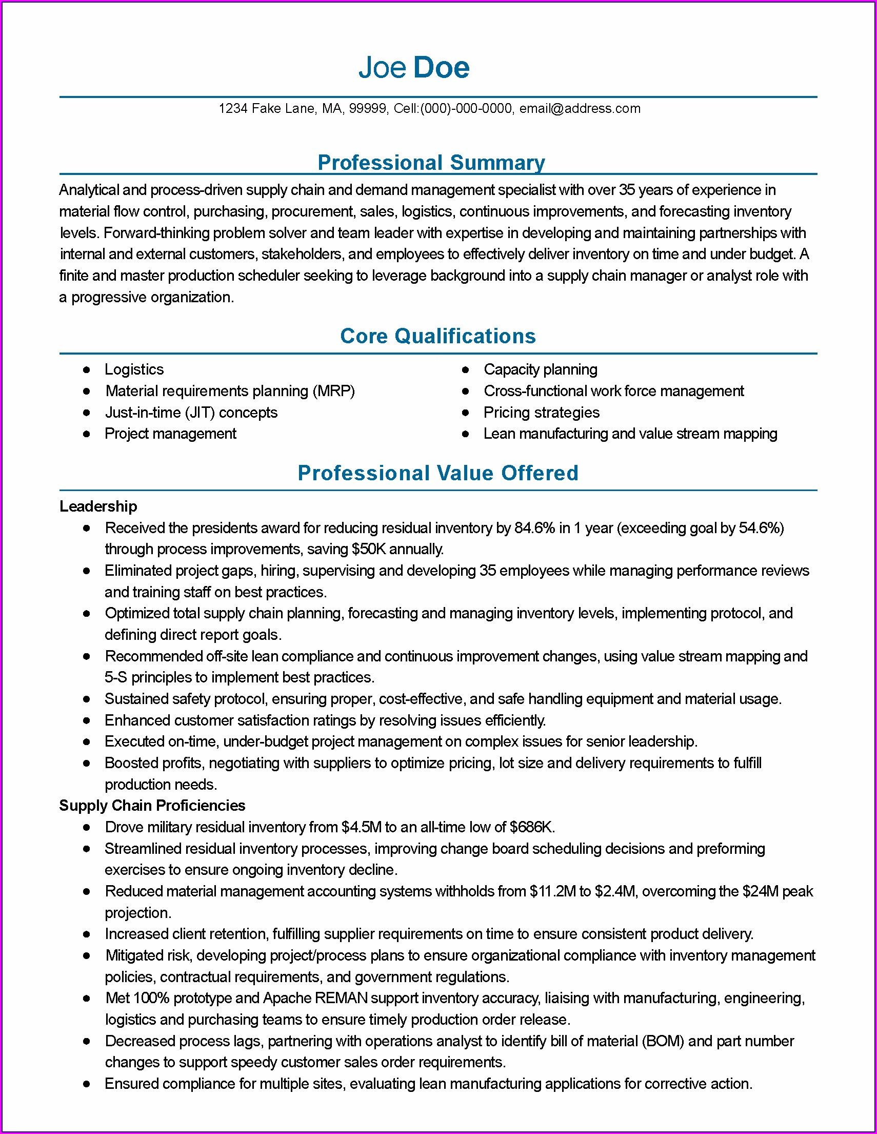 Resume Format For Scm Executive