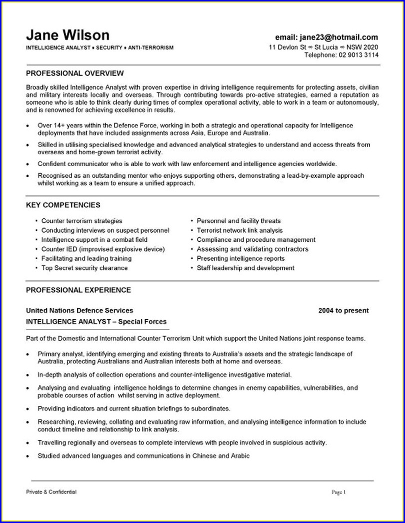 Resume Format For Security Field Officer