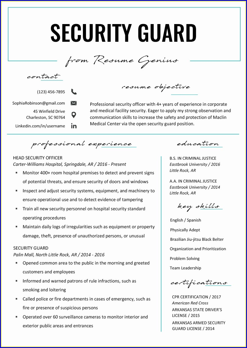 Resume Format For Security Guard Job