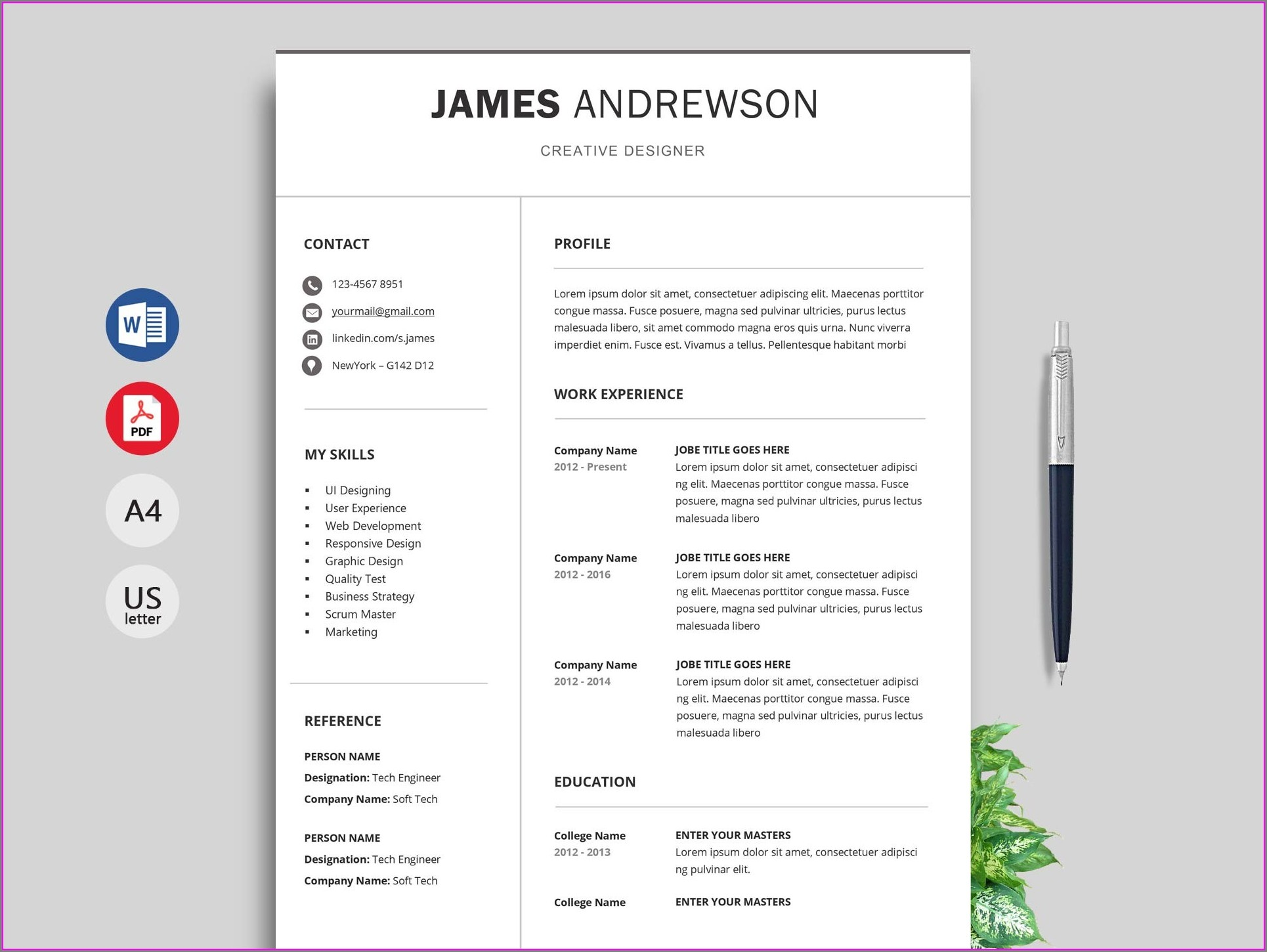 Resume Format In Word Free Download Indian
