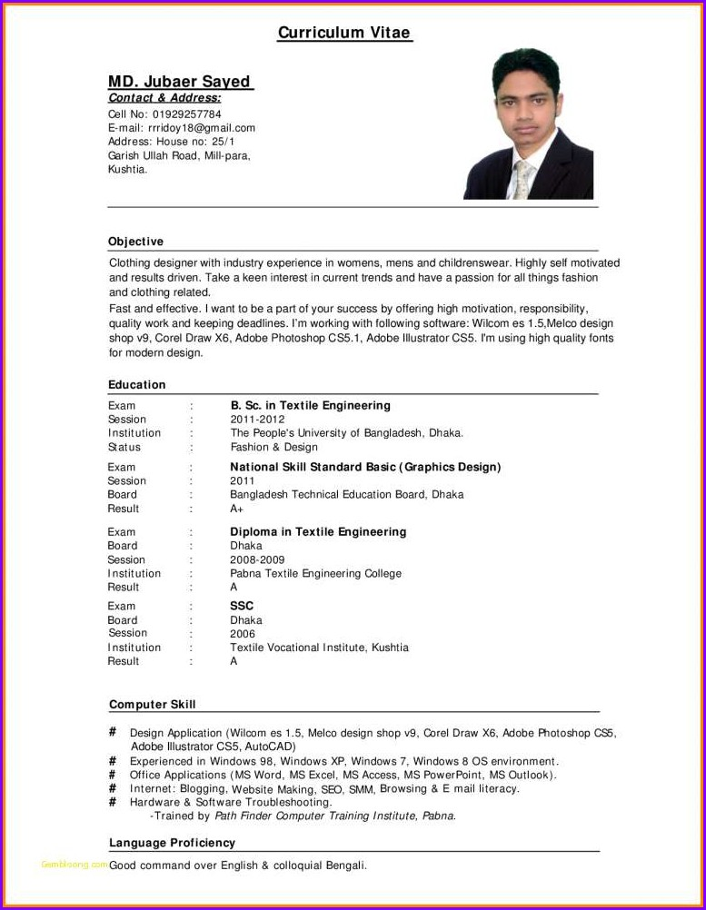 Resume Format Pdf Download For Job