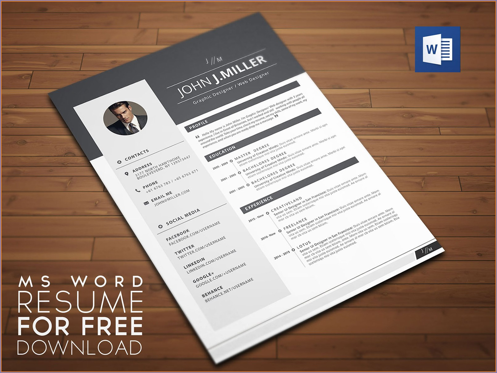 Resume Format Template For Word Download