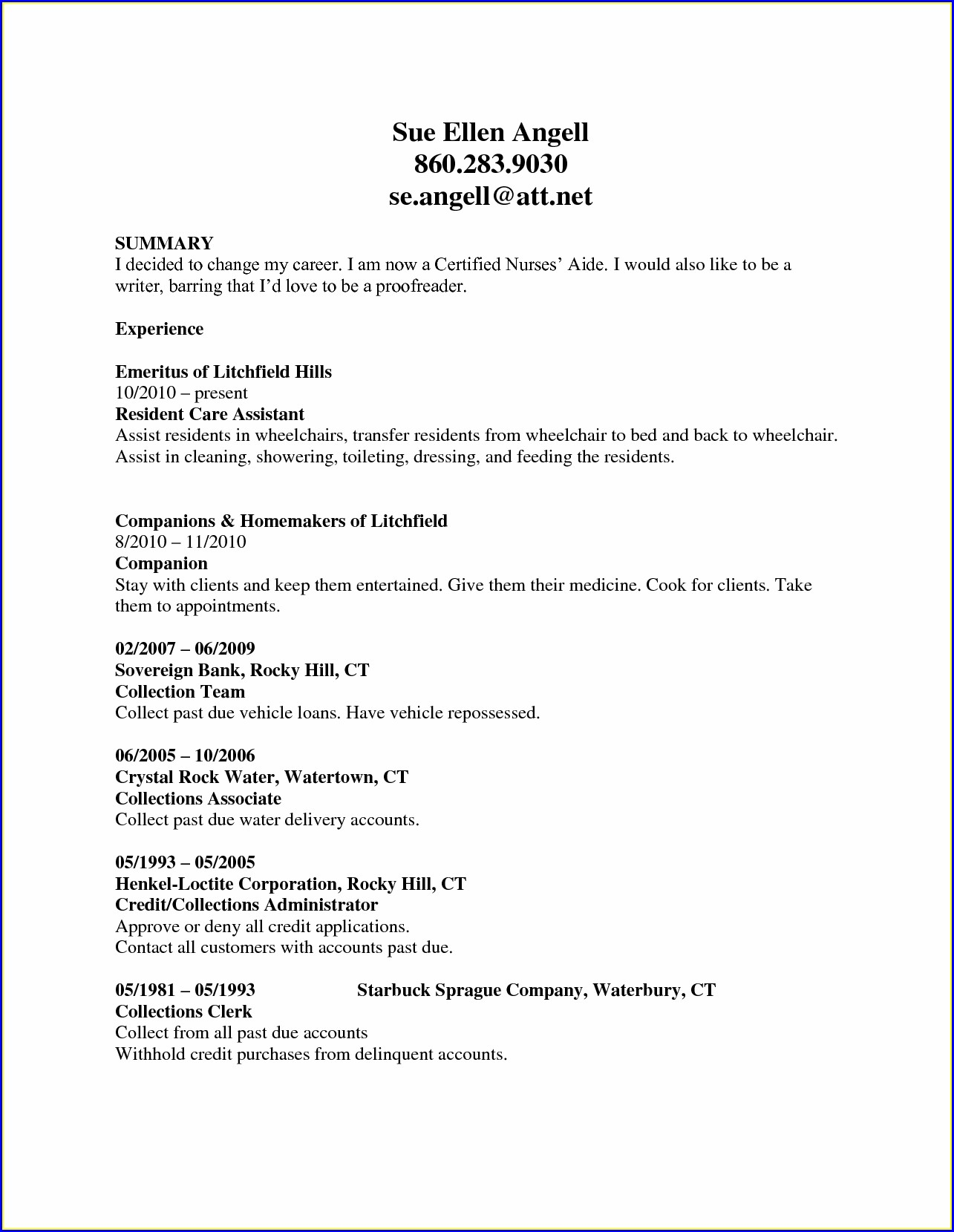 Resume Job Descriptions For Certified Nursing Assistant