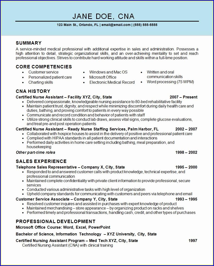 Resume Nursing Assistant Examples