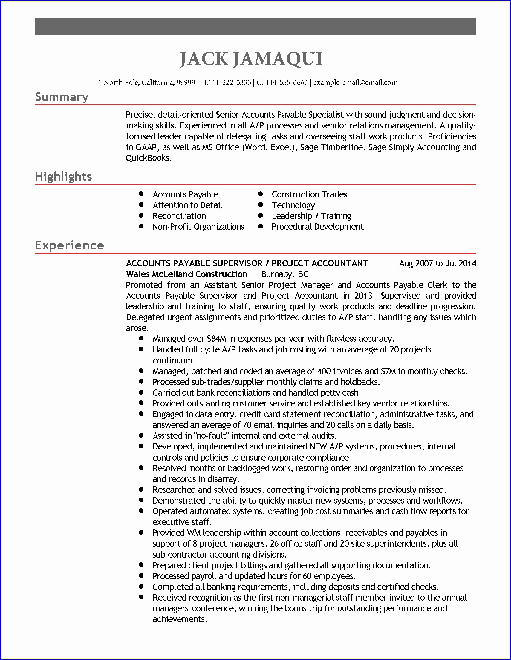 Resume Objective Accounts Payable Specialist