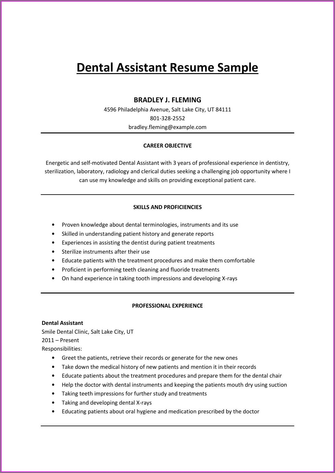Resume Objective Examples For Dental Assistant