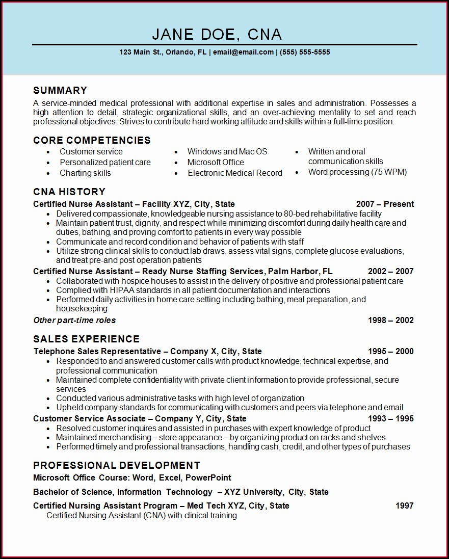 Resume Objective Examples For Nursing Assistant