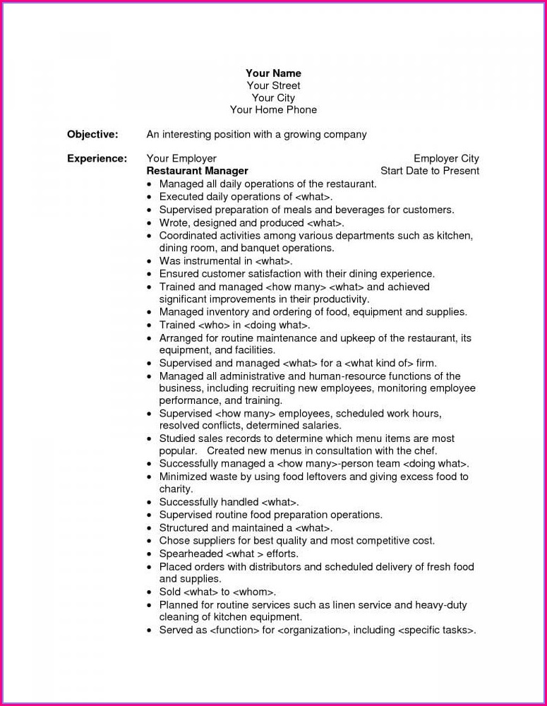 Resume Objective Examples For Project Manager