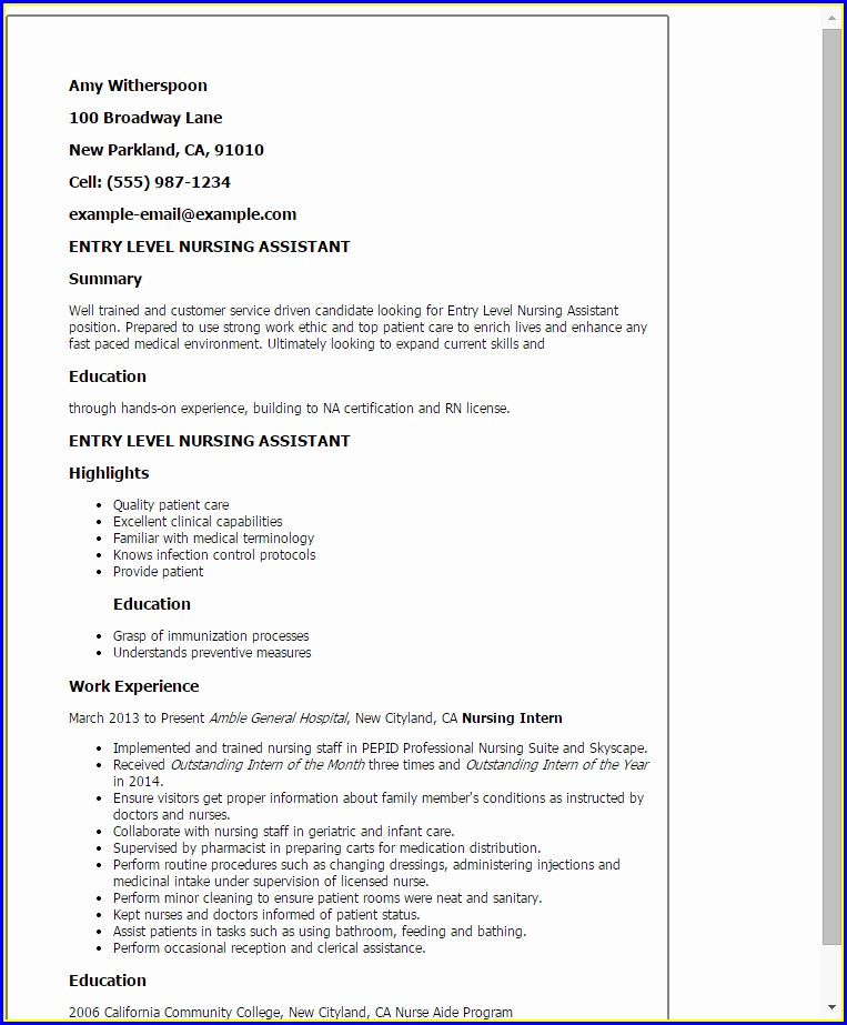 Resume Objective Examples Nursing Assistant