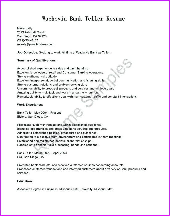 Resume Objective Examples Teller Position