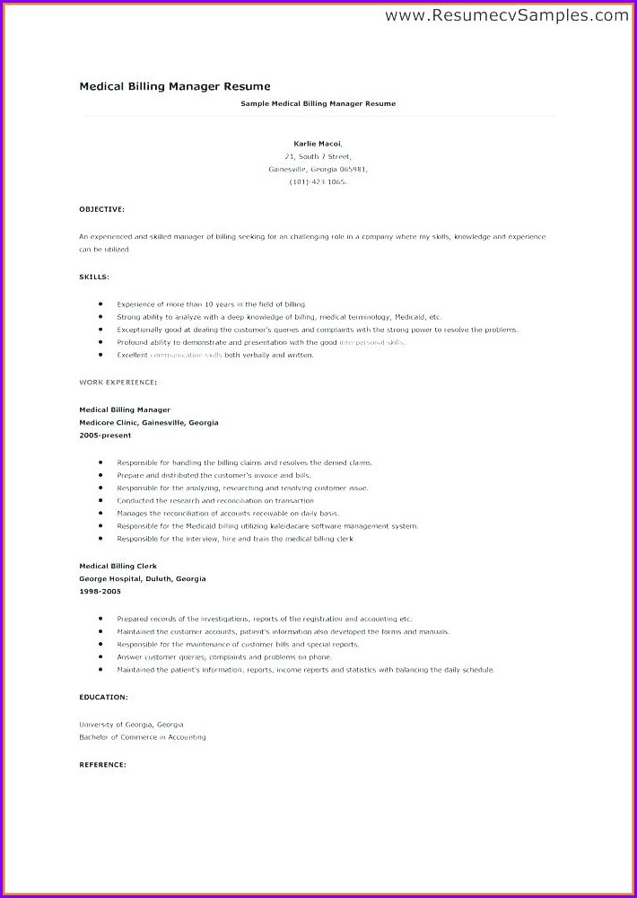 Resume Objective For Medical Billing