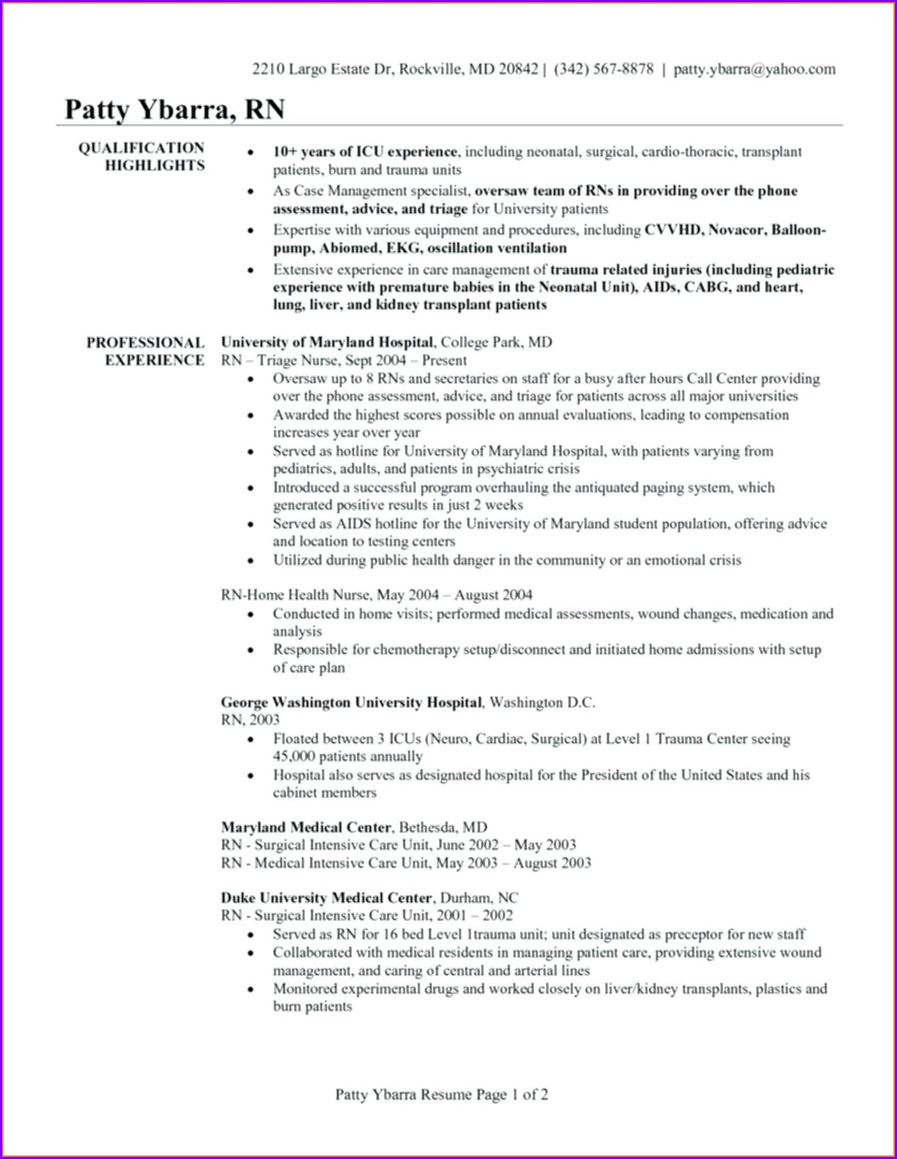 Resume Objective For New Registered Nurse