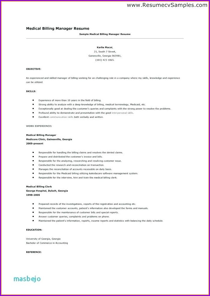 Resume Objective Medical Billing Manager