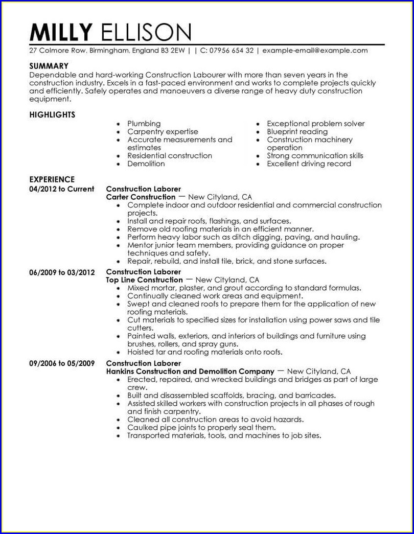 Resume Objective Statement For Construction Worker