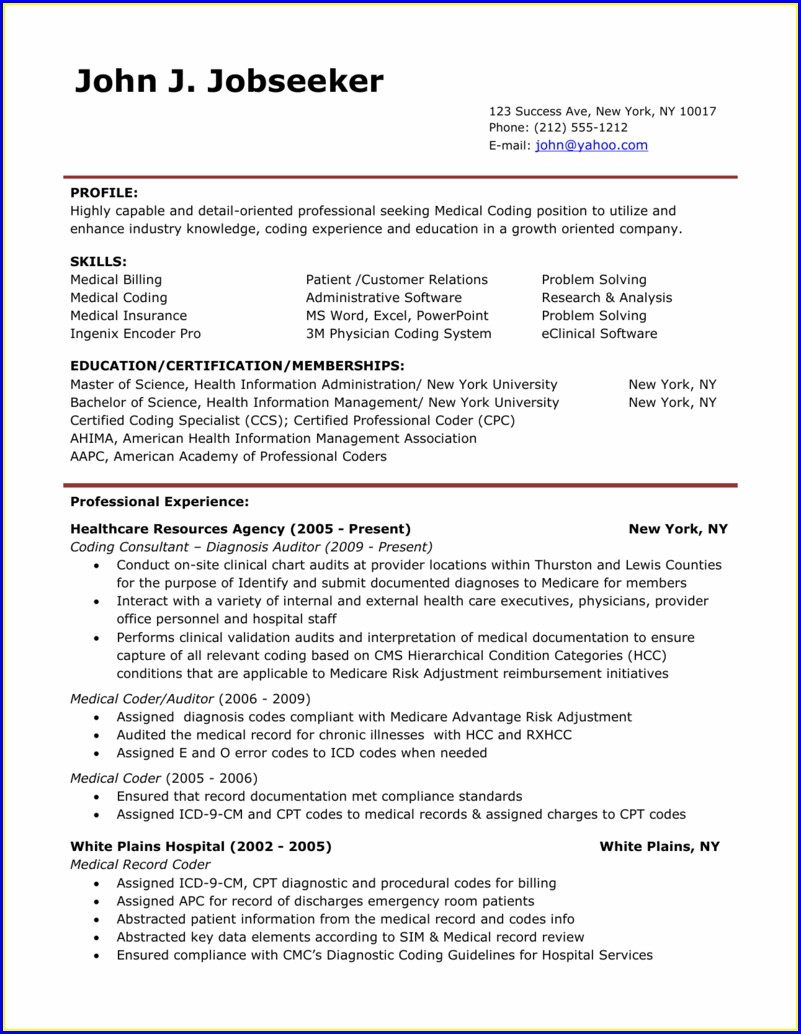 Resume Objectives For Medical Billing And Coding