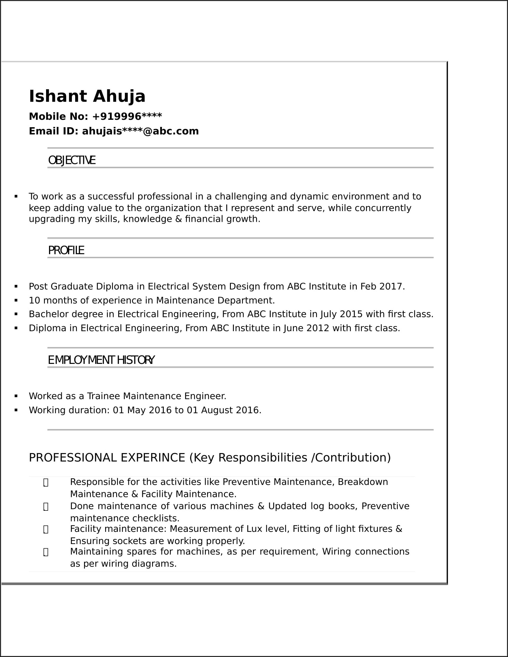 Resume Of Electrical Engineer Fresher Pdf