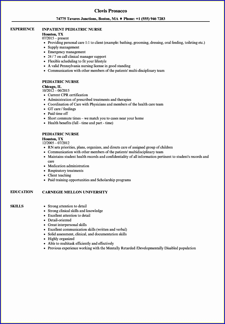 Resume Of Nursing Assistant Job