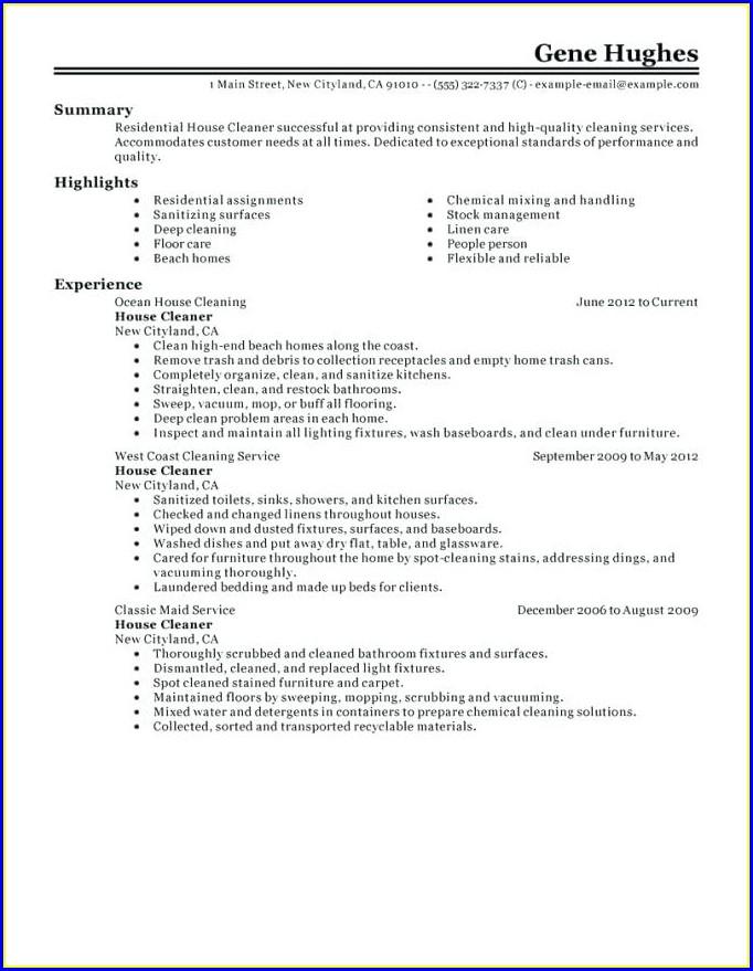 Resume Sample Cleaner Jobs