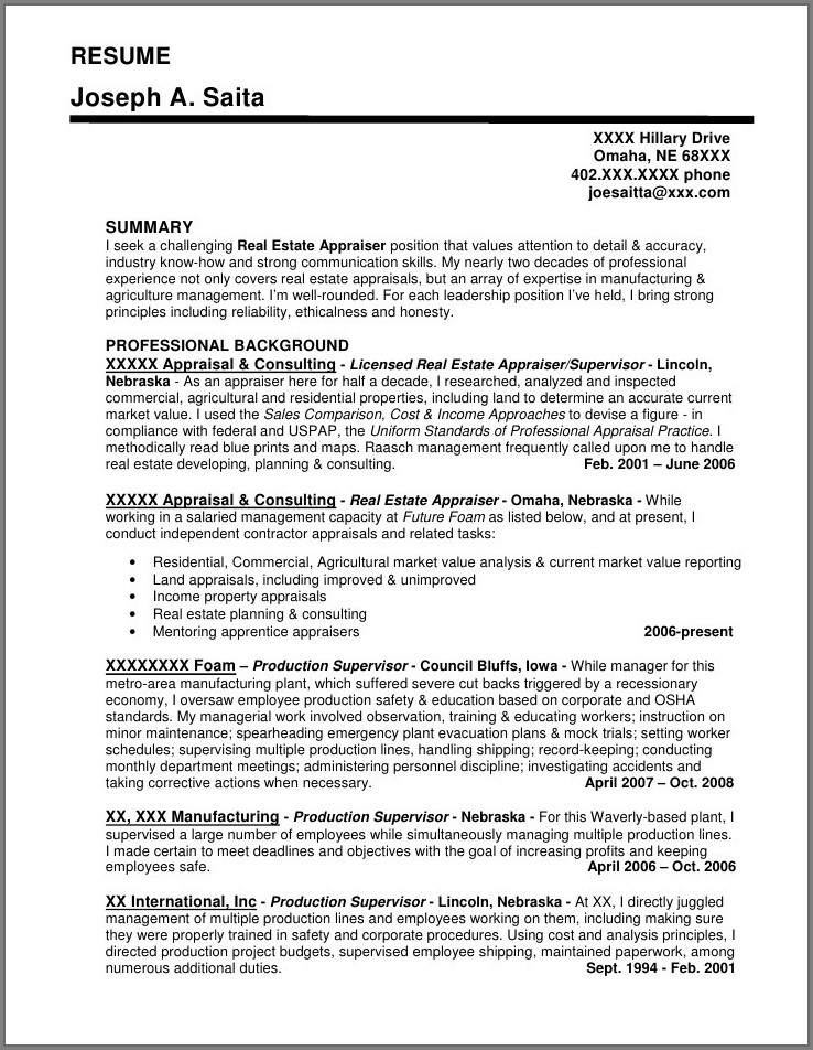 Resume Sample For Leadership Position