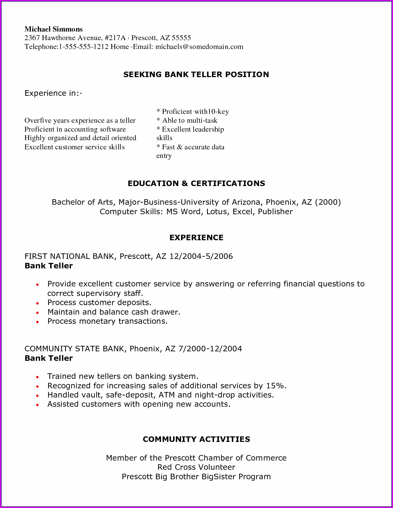 Resume Sample For Teller Position