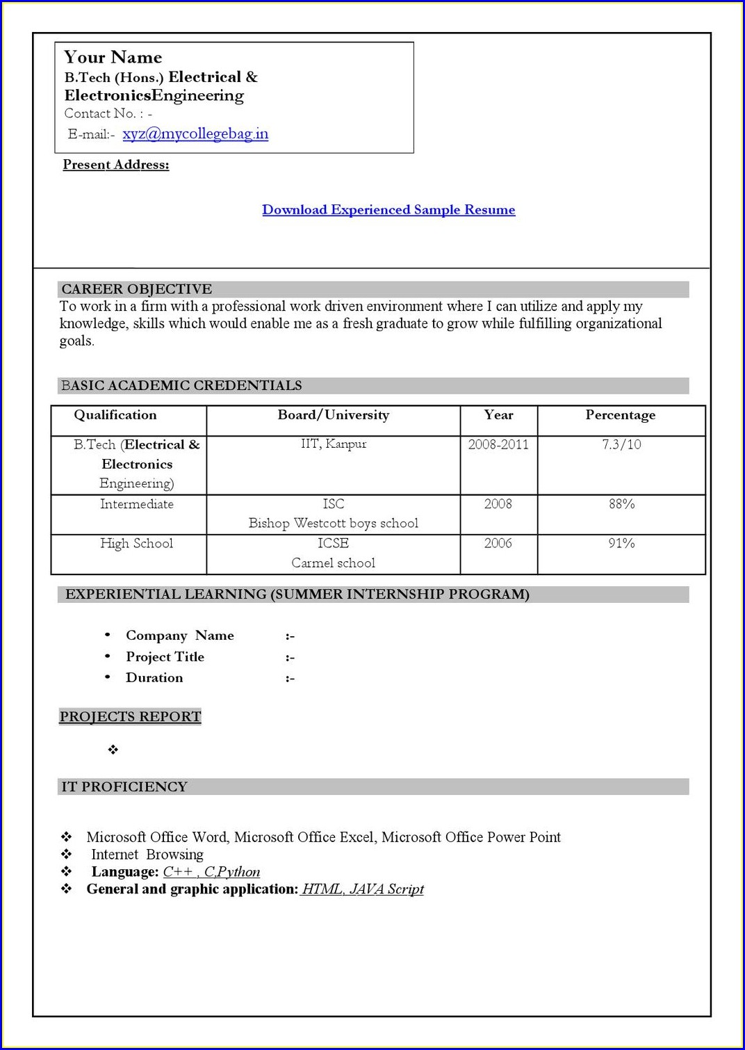 Resume Samples For Freshers Engineers Pdf