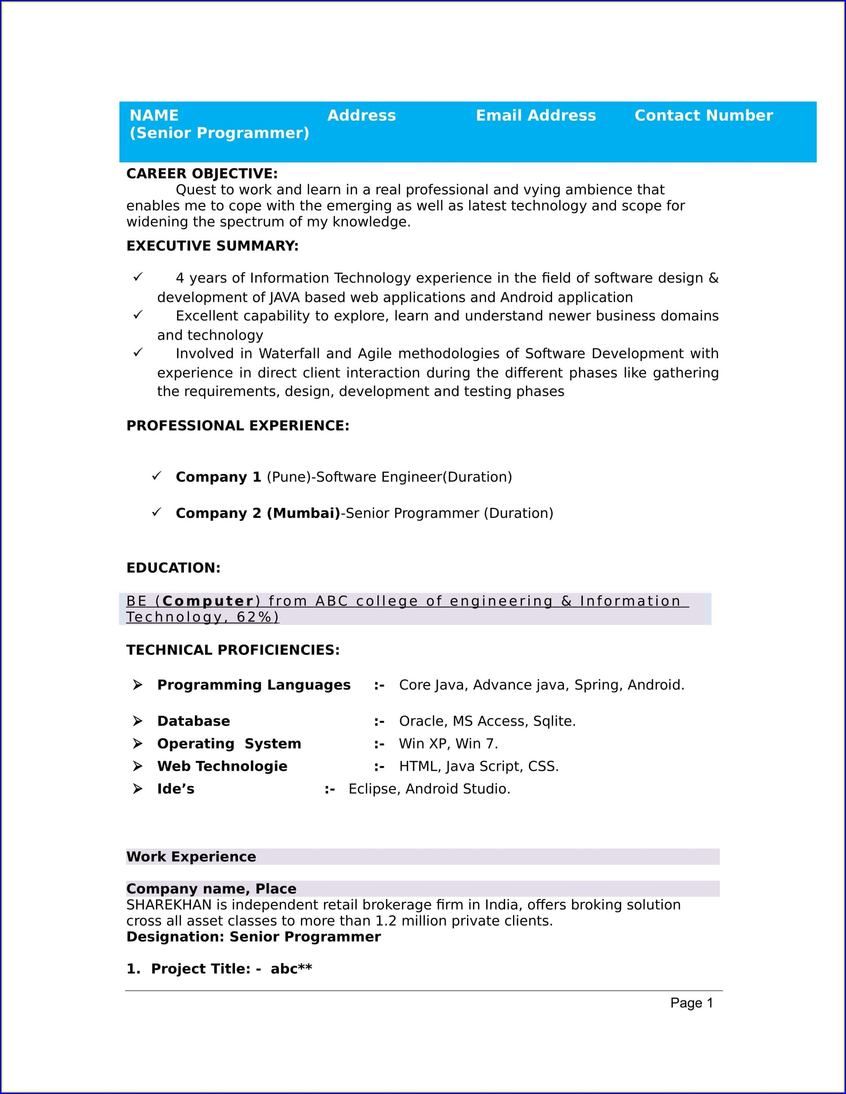 Resume Samples For Jobs In India Download